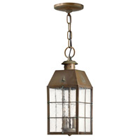 Nantucket 2 Light 6 inch Aged Brass Outdoor Hanging Light