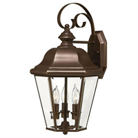 Clifton Park 3 Light 19 inch Copper Bronze Outdoor Wall Lantern in Incandescent