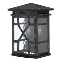 Hinkley 2430GS Clayton 2 Light 13 inch Greystone Outdoor Wall, Clear Water Glass