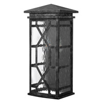 Hinkley 2434GS Clayton 2 Light 19 inch Greystone Outdoor Wall, Clear Water Glass