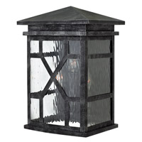 Clayton 3 Light 16 inch Greystone Outdoor Wall, Clear Water Glass