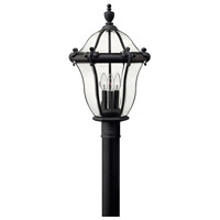 Hinkley 2441MB San Clemente 3 Light 22 inch Museum Black Outdoor Post Mount, Post Sold Separately