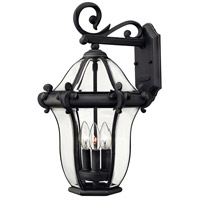San Clemente 3 Light 20 inch Museum Black Outdoor Wall Mount