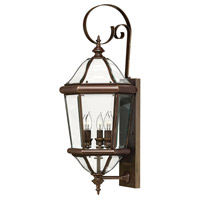 Hinkley Lighting Augusta 3 Light Outdoor Wall Lantern in Copper Bronze 2454CB