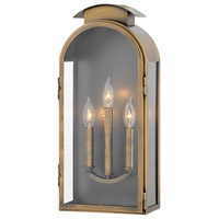 Rowley 3 Light 21 inch Light Antique Brass Outdoor Wall Mount