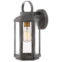 Hinkley 2530DZ Danbury 1 Light 14 inch Aged Zinc with Heritage Brass Accents Outdoor Wall Mount