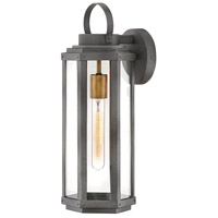 Hinkley 2534DZ Danbury 1 Light 18 inch Aged Zinc with Heritage Brass Accents Outdoor Wall Mount