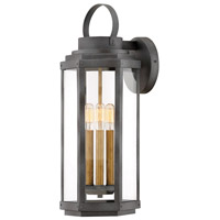 Hinkley 2535DZ Danbury 3 Light 22 inch Aged Zinc with Heritage Brass Accents Outdoor Wall Mount