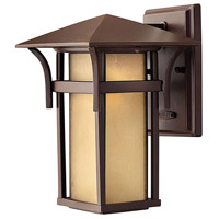Harbor 1 Light 11 inch Anchor Bronze Outdoor Wall Lantern in Etched Amber Seedy, Incandescent