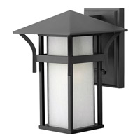 Hinkley 2570SK-GU24 Harbor 1 Light 11 inch Satin Black Outdoor Wall in Etched Seedy, GU24, Seedy Glass