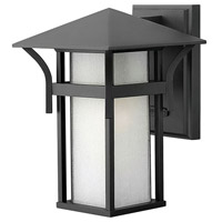 Hinkley 2570SK Harbor 1 Light 11 inch Satin Black Outdoor Wall Lantern in Etched Seedy, Incandescent