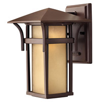 Hinkley Lighting Harbor 1 Light Outdoor Wall Lantern in Anchor Bronze with Etched Amber Seedy Bound Glass 2570AR-GU24
