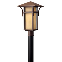 Hinkley 2571AR-GU24 Harbor 1 Light 20 inch Anchor Bronze Post Lantern in Etched Amber Seedy, GU24, Seedy Glass