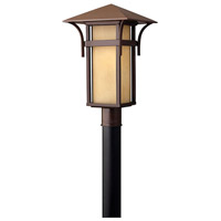 Hinkley 2571AR Harbor 1 Light 20 inch Anchor Bronze Post Lantern in Etched Amber Seedy, Incandescent, Post Sold Separately