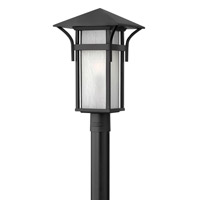 Harbor 1 Light 20 inch Satin Black Post Lantern in Etched Seedy, GU24, Seedy Glass