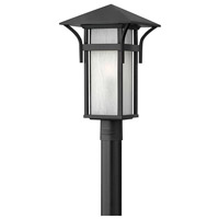 Harbor 1 Light 20 inch Satin Black Post Lantern in Etched Seedy, LED, Seedy Glass, Post Sold Separately