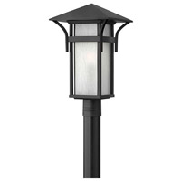 Hinkley 2571SK Harbor 1 Light 20 inch Satin Black Outdoor Post Mount in Etched Seedy, Incandescent, Post Sold Separately
