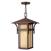 Hinkley 2572AR-GU24 Harbor 1 Light 11 inch Anchor Bronze Outdoor Hanging in Etched Amber Seedy, GU24, Seedy Glass