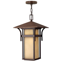 Hinkley 2572AR Harbor 1 Light 11 inch Anchor Bronze Outdoor Hanging Lantern in Etched Amber Seedy, Incandescent