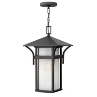 Harbor 1 Light 11 inch Satin Black Outdoor Hanging in Etched Seedy, GU24, Seedy Glass
