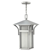 Hinkley 2572TT-GU24 Harbor 1 Light 11 inch Titanium Outdoor Hanging in Etched Seedy, GU24, Seedy Glass