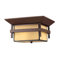 Harbor 1 Light 12 inch Anchor Bronze Outdoor Flush Mount in Etched Amber Seedy, GU24, Seedy Glass