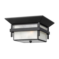 Hinkley 2573SK-GU24 Harbor 1 Light 12 inch Satin Black Outdoor Flush Mount in Etched Seedy, GU24, Seedy Glass