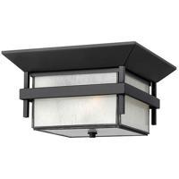 Hinkley 2573SK-LED Harbor LED 12 inch Satin Black Outdoor Flush Mount Etched Seedy Bound Glass