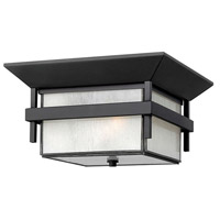 Hinkley 2573SK Harbor 2 Light 12 inch Satin Black Outdoor Flush Lantern in Etched Seedy, Incandescent