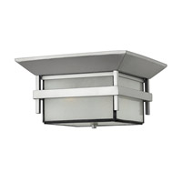 Hinkley 2573TT-GU24 Harbor 1 Light 12 inch Titanium Outdoor Flush Mount in Etched Seedy, GU24, Seedy Glass