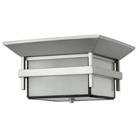 Hinkley 2573TT Harbor 2 Light 12 inch Titanium Outdoor Flush Mount in Etched Seedy, Incandescent