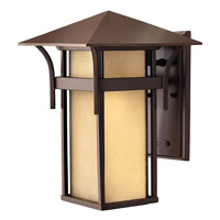 Hinkley 2574AR-GU24 Harbor 1 Light 14 inch Anchor Bronze Outdoor Wall in Etched Amber Seedy, GU24, Seedy Glass