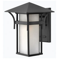 Hinkley 2574SK-GU24 Harbor 1 Light 14 inch Satin Black Outdoor Wall in Etched Seedy, GU24, Seedy Glass