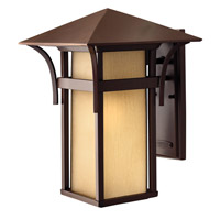 Hinkley 2575AR-GU24 Harbor 1 Light 16 inch Anchor Bronze Outdoor Wall in Etched Amber Seedy, GU24, Seedy Glass