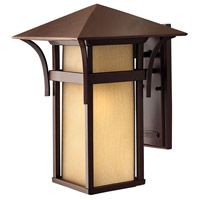 Harbor 1 Light 16 inch Anchor Bronze Outdoor Wall Lantern in Etched Amber Seedy, Incandescent