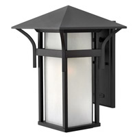 Hinkley 2575SK-GU24 Harbor 1 Light 16 inch Satin Black Outdoor Wall in Etched Seedy, GU24, Seedy Glass
