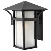 Harbor LED 16 inch Satin Black Outdoor Wall Lantern in Etched Seedy
