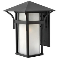 Hinkley 2575SK Harbor 1 Light 16 inch Satin Black Outdoor Wall Lantern in Etched Seedy, Incandescent