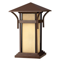 Hinkley 2576AR-GU24 Harbor 1 Light 17 inch Anchor Bronze Pier Mount Lantern in Etched Amber Seedy, GU24, Seedy Glass