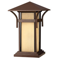 Hinkley 2576AR-LED Harbor 1 Light 17 inch Anchor Bronze Pier Mount Lantern in Etched Amber Seedy, LED, Seedy Glass