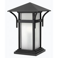 Hinkley 2576SK-GU24 Harbor 1 Light 17 inch Satin Black Pier Mount Lantern in Etched Seedy, GU24, Seedy Glass