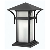 Harbor 1 Light 17 inch Satin Black Pier Mount Lantern in Etched Seedy, LED, Seedy Glass