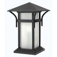 Hinkley 2576SK-LED Harbor LED 17 inch Satin Black Outdoor Pier Mount, Seedy Glass