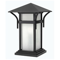 Hinkley 2576SK Harbor 1 Light 17 inch Satin Black Pier Mount Lantern in Etched Seedy, Incandescent