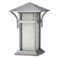 Harbor 1 Light 17 inch Titanium Pier Mount Lantern in Etched Seedy, GU24, Seedy Glass