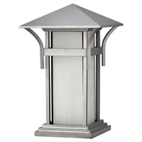 Harbor 1 Light 17 inch Titanium Pier Mount Lantern in Etched Seedy, LED, Seedy Glass