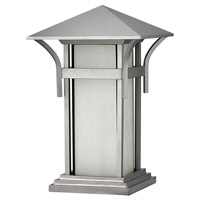 Harbor 1 Light 17 inch Titanium Outdoor Pier Mount in Etched Seedy, Incandescent