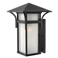 Harbor 1 Light 21 inch Satin Black Outdoor Wall in Etched Seedy, GU24, Seedy Glass