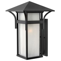 Harbor LED 21 inch Satin Black Outdoor Wall Lantern in Etched Seedy