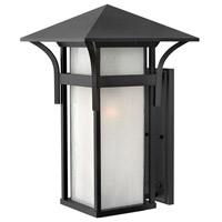 Hinkley 2579SK Harbor 1 Light 21 inch Satin Black Outdoor Wall Mount in Etched Seedy, Incandescent